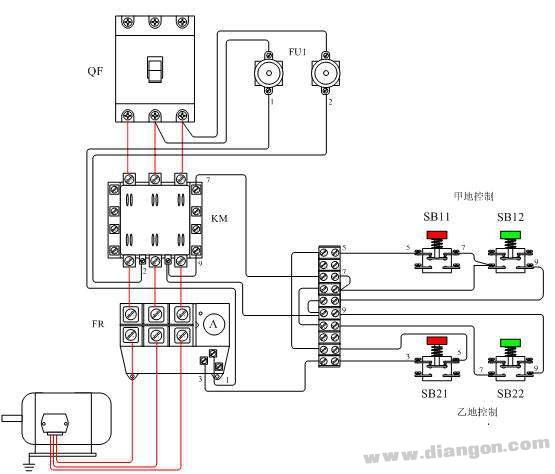 电动机两地控制电路原理图片