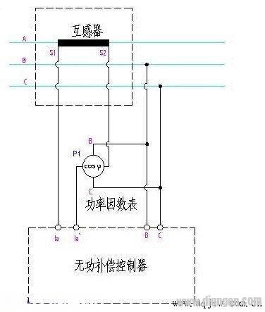 无功补偿控制器与功率因数表接线