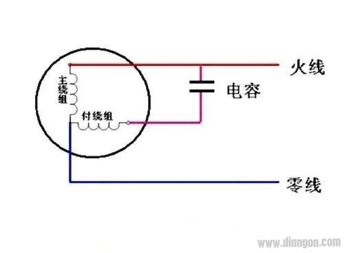 吊扇电容器启动接线图