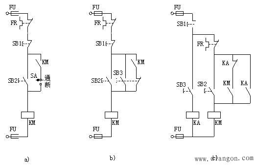 图b)控制线路中用按钮SB2、复合按钮SB3分别控制。点动控制按钮为SB3,按下复合按钮SB3,其动断触头断开接触器KM的自锁触头支路,动合触头所在支路接通,实现点动。连续控制按钮为SB2。 图c)控制线路中,按下按钮SB3,中间继电器KA的动断触头断开接触器KM的自锁触头,而KA的动合触点使接触器KM的线圈通电实现点动,连续控制时用按钮SB2实现。