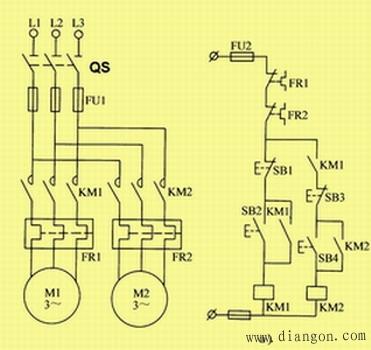 控制线路工作过程:设电路要求m1启动50秒后,m2启动.