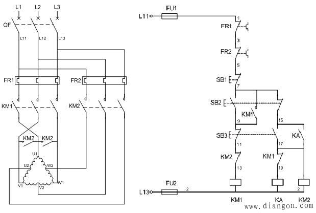 交流接触器控制的双速电动机电气原理图和接线图