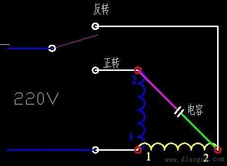 单相电机接线 单相电机正反转接线图 单相电机电容接线图 单相电机倒顺开关接线图