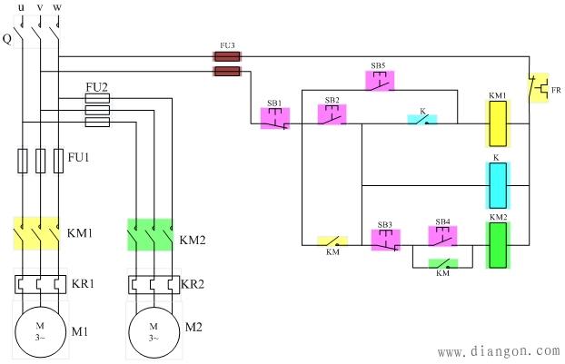 两台笼型电动机m1,m2顺序起停的控制线路设计