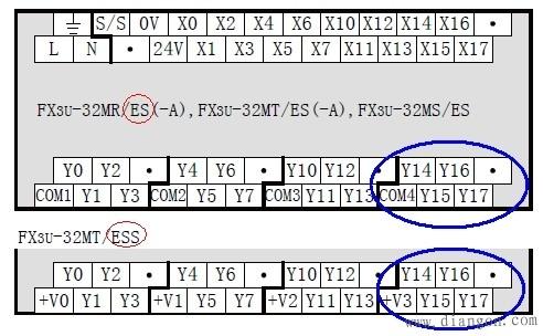 三菱fx3uplc输出接线