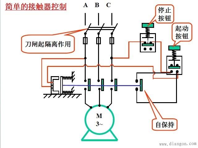 点动控制接线图 点动控制实物接线图图片