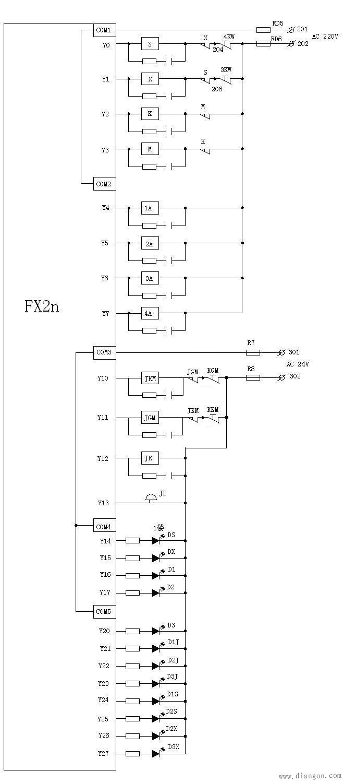 双速电梯电气原理图及plc安装接线图绘制