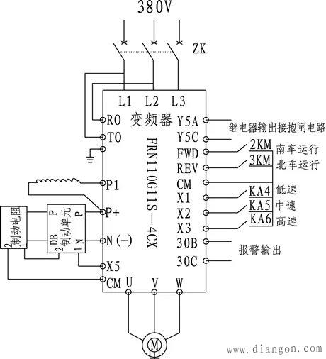 接线图如下:       采用原系统已有的yzr315m—8  90kw绕线式异步电动