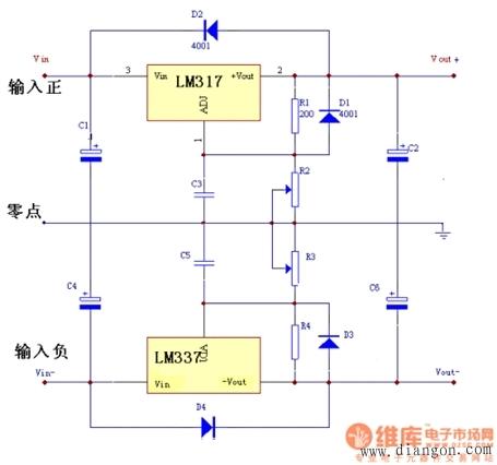 用三端集成稳压器w7805组成一个直流稳压电源,画出完整电路图图片