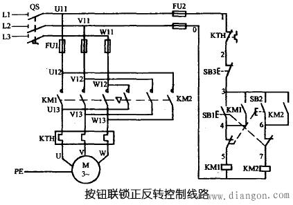 三相异步电动机用按钮联锁正反转控制线路