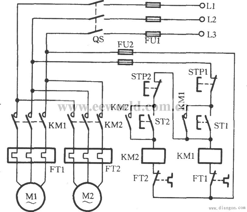 两台电动机顺序启动电路图_三台电动机顺序启动电路图