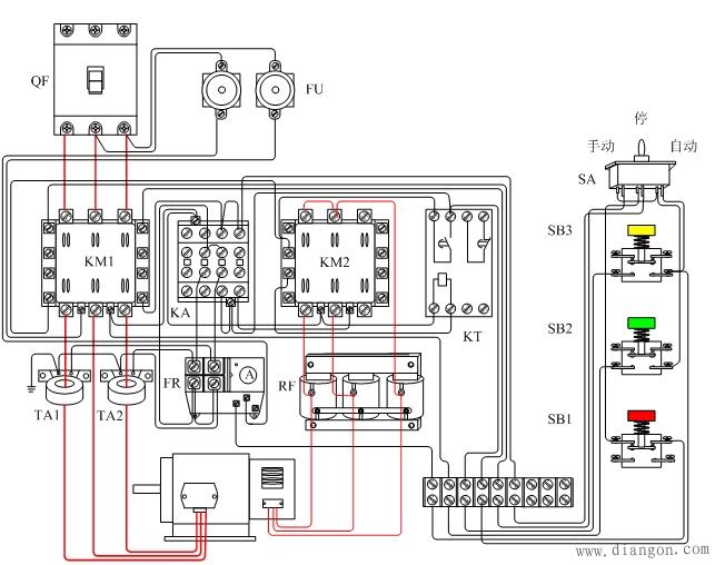 三相异步电动机频敏变阻器启动器接线图
