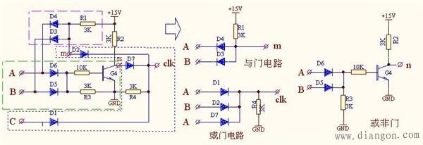 图二,由二极管,电阻,晶体管组成的与门,或非门,或门电路图