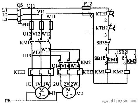 电动机m2的控制电路先与接触器km1的线圈并联后再与km1的自锁触头串联