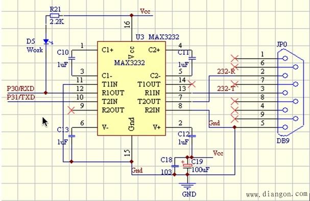 图7       单片机串口通讯电路