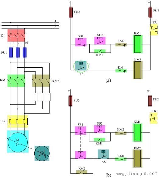 当电动机转速下降到一定阈值之下(如100r/min)时,速度继电器触头复位