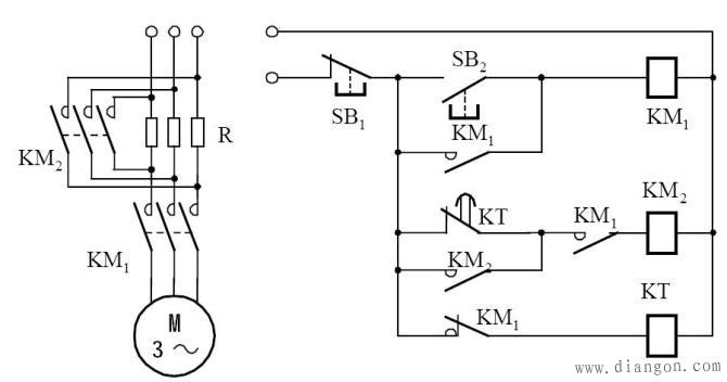 控制电路接通电源后,时间继电器线圈通电,常闭延时闭合触点瞬时断开