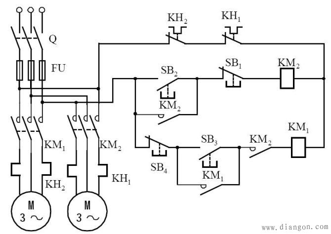 电接触器控制电路_继电器控制交流接触器_继电器与接触器控制电路图解