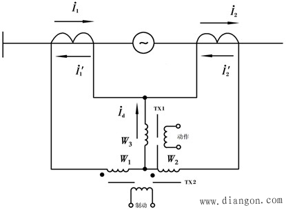 比率制动式差动继电器原理接线图