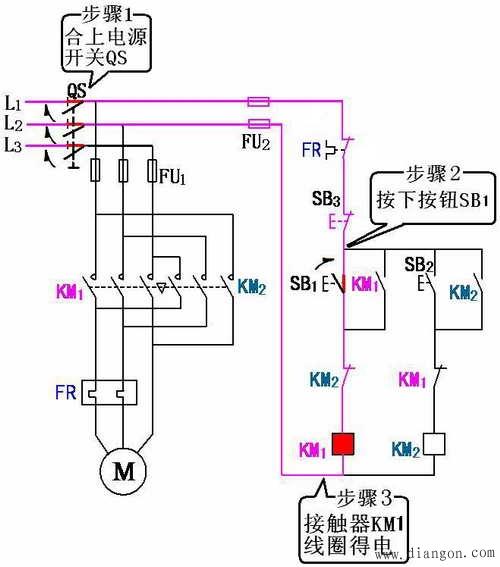 三相异步电动机接触器联锁的正反转控制