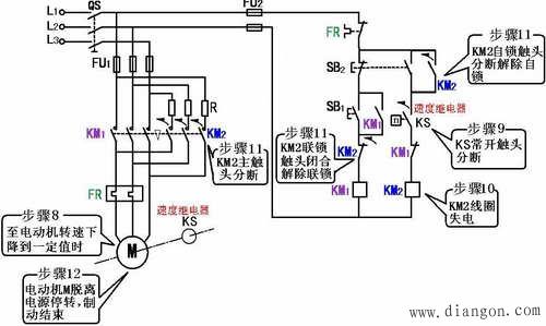 控制电路是采用速度继电器来判断电动机的零速点并及时切断三相电源的