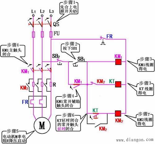 定子绕组串接电阻降压启动控制   串电阻(电抗)降压启动控制线路原理