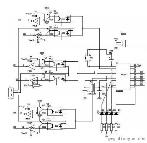 硬件电路原理图,该硬件电路主要包括单片机at89c2051,反相器cd4069,光