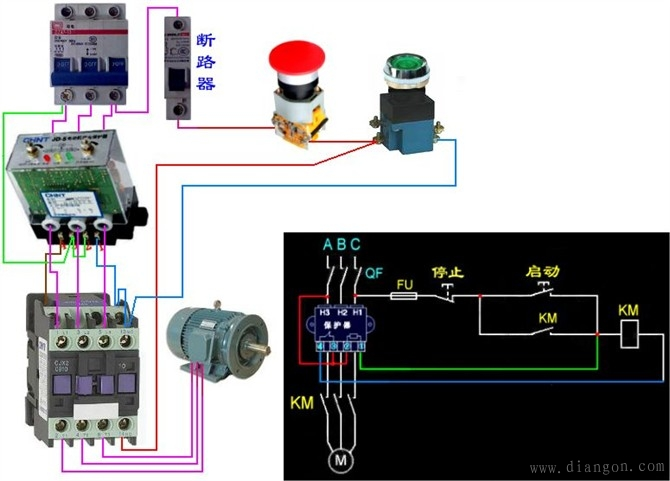 电工最常见电路 电工常见电路接线图 电工最常见电路的实物接线图集