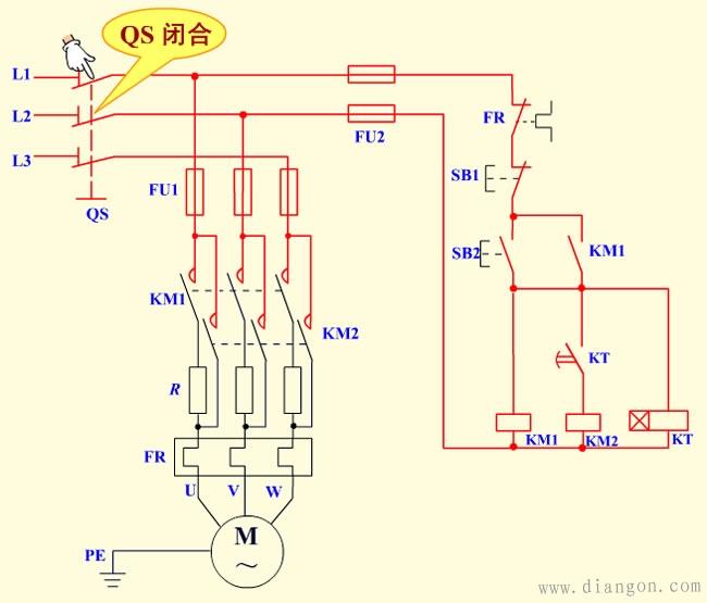 定子串电阻降压启动原理图解   →km1 主触头闭合,电动机串电阻启动.