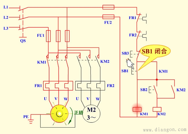 电动机顺序启动控制电路原理图解