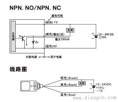 2)两线制接近开关的接线比较简单,接近开关与负载串联后接到电源
