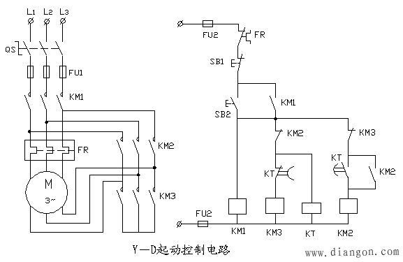电动机星三角形起动控制电路原理图解