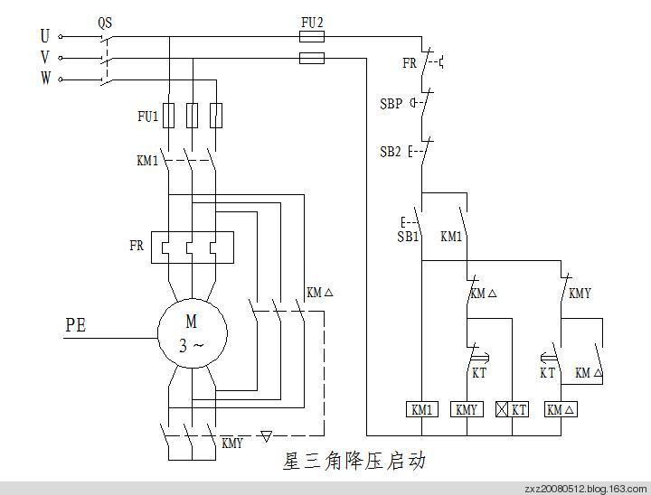 1,星-三角降压启动控制的继电控制电路图