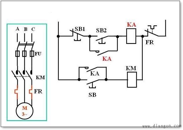 此种控制方式,用合闸中间继电器常开接点与点动启动按钮sb并联,较好地