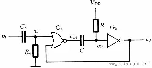 首页 行业知识 单稳态触发器电路图   由rc电路构成的单稳态触发器中