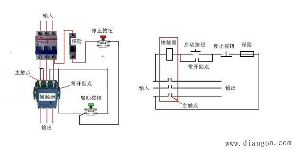 接触器实现三相交流电机的启停图片