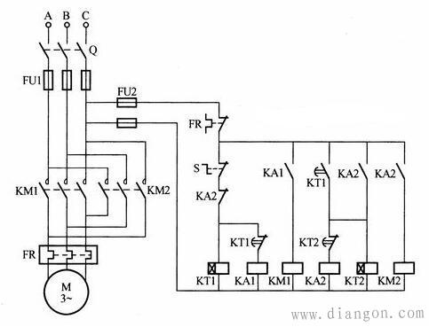 其常开延时闭合触点kt1闭合,反转中间继电器ka2暂时得电吸合,其常开