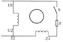电阻分相单相异步电动机等效电路图