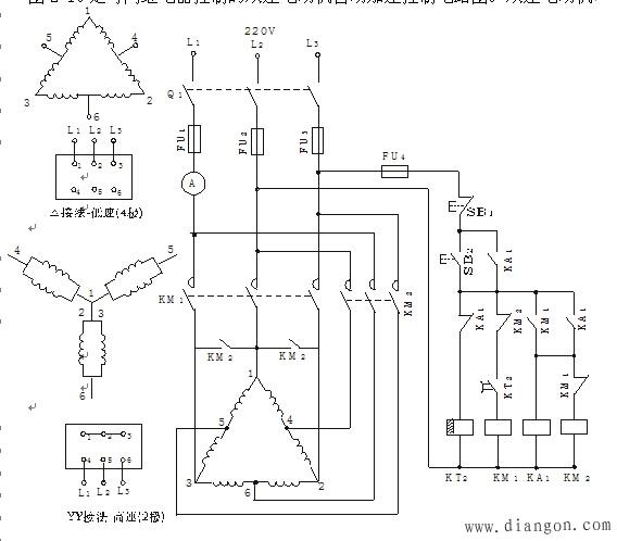 时间继电器控制双速电动机自动加速控制电路图解