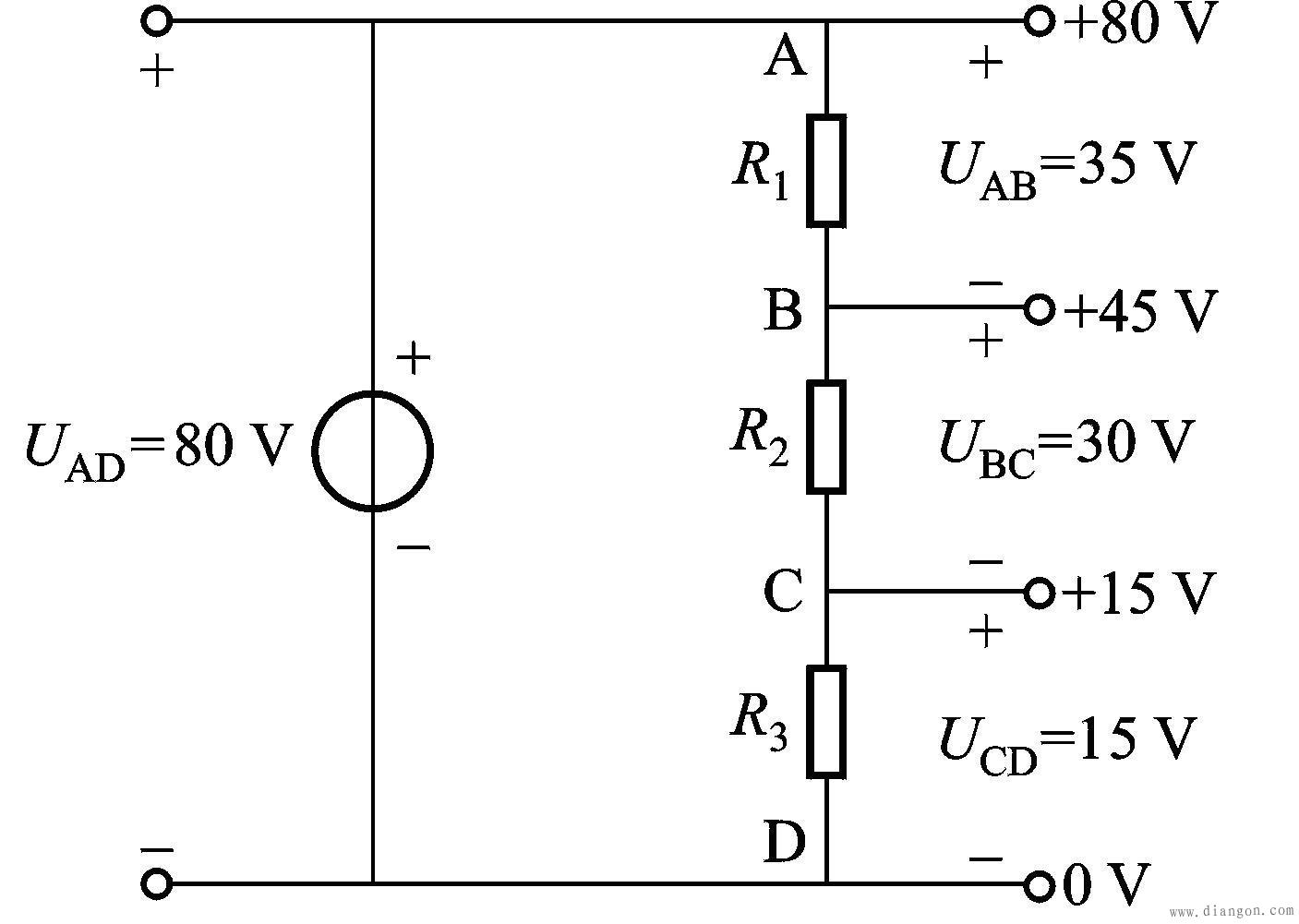 电阻串联电路中的电压分配