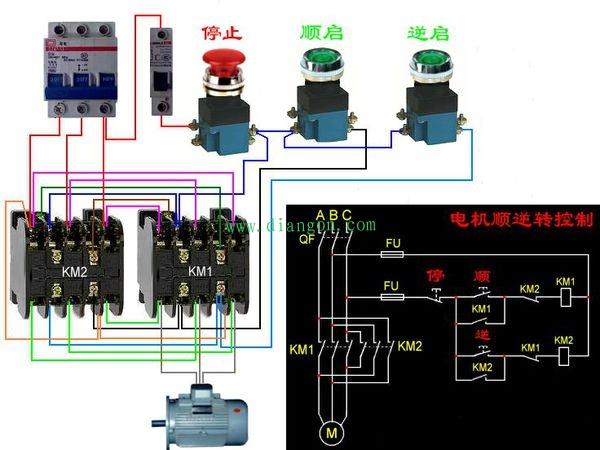 3.采用时间继电器,接触器互锁,按钮启动自动控制电动机反正转.