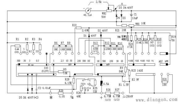 mf47指针式万用表的使用方法图解_万用表档位原理_万用表原理图