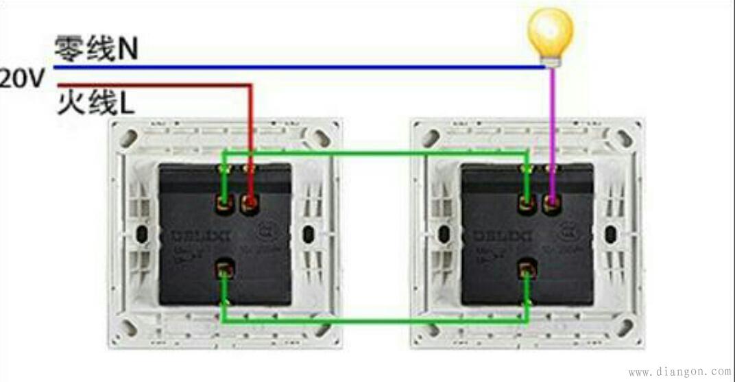 单联双控开关原理和接线图
