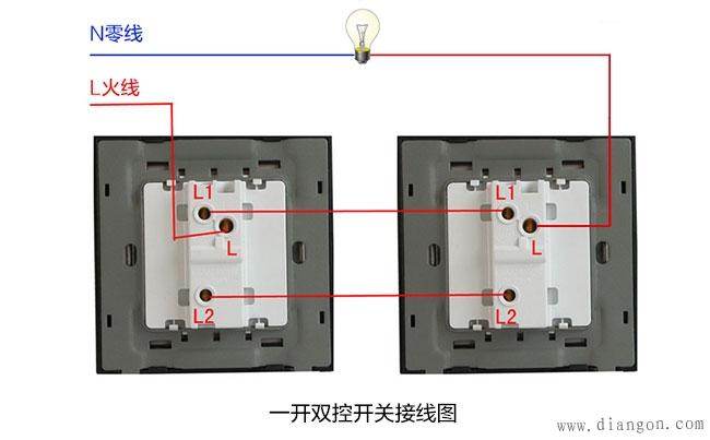 1、开关用来控制插座电源的通断,可以按照上面的一开双控开关接线图来接线:把火线接入一只双控开关的L接线端子(火线进线口),将该开关的L1接线端子(火线出线口)与另一只双控开关的L1连接,然后将该开关的L2与另一只双控开关的L2连接,然后将另一只双控开关的L接线端子(火线接线口)连接到灯泡的火线端,将零线接入灯泡的零线端。