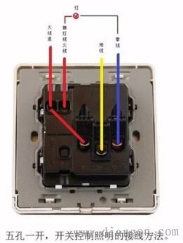 一开单控开关/一开双控开关/二开单控开关/五孔插座/五孔一开接线图