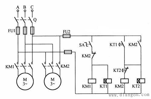 两台电动机交替启动停止电路图图片