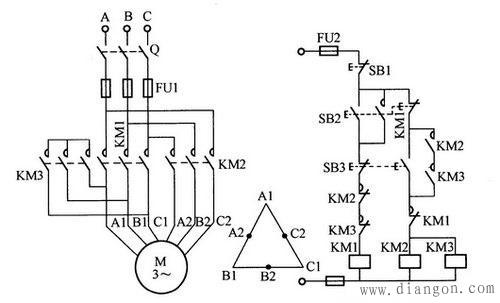 接触器km2,km3线圈同时得电,经km2,km3常开触点串联组成的自锁电路