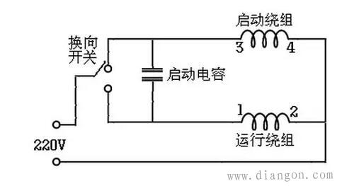 220v交流单相电机启动方式和接线图