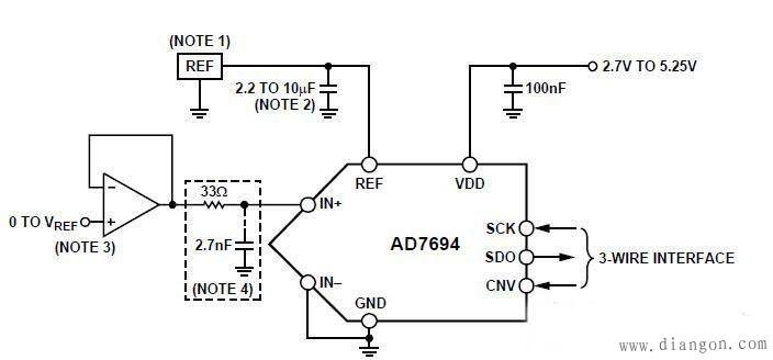 AD7694器件是一款3通道、低噪声、低功耗、24位-型ADC,内置片内仪表放大器 ,主要介绍了AD7694特性、应用范围、参考设计电路以及电路分析,帮助大家缩短设计时间。   AD7694介绍:   AD7694是一款16位、250 kSPS、电荷再分配、逐次逼近型模数转换器(ADC),采用2.7 V至5.
