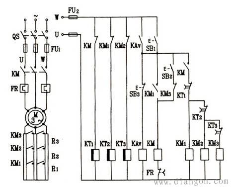 三相电动机转子电路中串联电阻启动控制电路工作原理图片